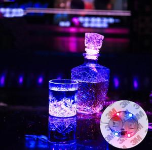미니 발광 코스터 LED 바 컵 LED 점멸 조명 병 스티커 파티 라이트 업 와인 매트 결혼식 파티 뷰티 선물 무료 배송
