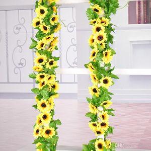 Yapay Güneş Çiçek Simülasyon Ayçiçeği Kapalı Ipek Çiçekler Sahte Lotus Kamışı Asma Düğün Kutlama Süslemeleri Mandala Garlands 4 5czb1