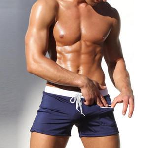 Maillots de bain pour hommes Poches de mode Sexy Bodybuild Trunks Trunks Beach Natation Shorts Boxer Sous-vêtement Sunga Masculina Praia