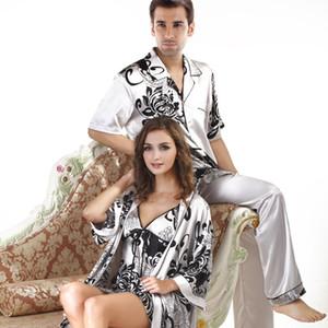 ملابس نوم الرجال الحريرية عالية الجودة ... ... أزواج حريرية صيفية عارضة ... ... زائد حجم Satin Pajama Set Mens البيجامة زائد حجم XXL
