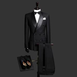 새 슬림 맞는 블랙 남자 정장 웨딩 신랑 턱시도 2 조각 (자켓 + 바지) 목도리 옷깃 신랑 슈트와 함께 베스트 남자 댄스 착용 블레이저 352