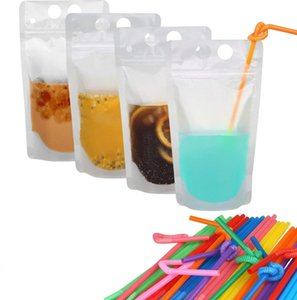 100pcs rimuovono Drink sacchetti dei sacchetti smerigliato Zipper Stand-up Alcol sacchetto di plastica con la paglia 17 once Frosted richiudibile Stand-up Bag