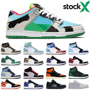 2020 Nike SB Dunk Low Chunky Dunky Skateboard Air Jordan 1 Obsidian UNC Black Toe Pink Green Shattered Backboard Hommes sport sneakers 36-47