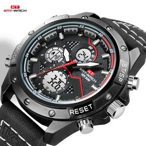 KT часы мужчины 2020 наручные часы Кварцевые спортивные кожаные подарки роскошный водонепроницаемый хронограф аналоговые цифровые мужские часы черный KT1805