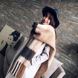 Mingjiebihuo coreana nueva moda larga bufanda de otoño femenino y el nuevo caliente salvaje color mezclado de invierno gruesa bufanda con flecos