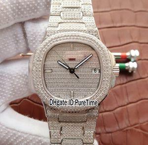 La mejor edición Nautilus Jumbo 5719 / 10G-010 18k Oro blanco Totalmente pavimentado con diamantes ETA 324SC All Diamond Bezel Dial Mens Watch Puretime TWF02