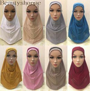Mujeres musulmanes pañuelo bufanda del mantón Hijab Wrap Headwear Amira islámica cubierta completa de Oración Sombrero árabe Worshipe Servicio Hijab