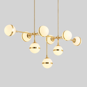 American Loft RH Retro redonda de metal Led E27 Chandelier Lustre Luminaria para Sala de vidro Shades ouro LED Lighting Chandelier