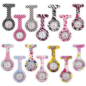 Envío gratis Hot Medical Nurse FOB Pin Zebra Silicone Watch Leopard Color raya estilo reloj de bolsillo