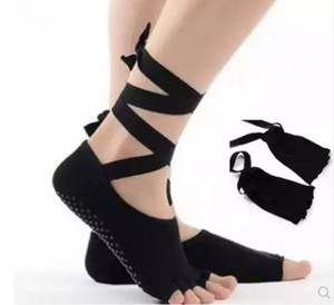 Hot Sale-Aerial yoga socks non-slip ties with five finger socks open toe open back dance socks cotton four seasons female