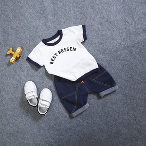 2019 New Hot 2PCS Suit Summer Children Boys Girls Clothes Sets Kids Cotton Letter Short Sleeves T-Shirt Toddler Child Clothing