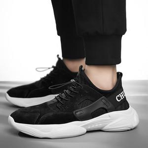 2020 G.N.SHIJIA Fashion Designer Top qualité Chaussures polyuréthane Semelle Noir Gris Rouge plat Chaussures de course Sport Pigskin Flyweave Sneakers