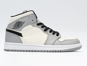 1 Mid Light Smoke Grey Jumpman 1s basketball Shoes LIGHT SMOKE GREY BLACK WHITE AJ1M-LSG designer trainers mens shoes running shoes for men