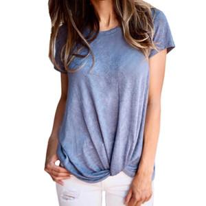 Casual manga curta T-shirt novos da Mulher moles em torno do pescoço Knot Casual Ladies Moda Sólidos Túnica Cor Tops Irregular camisa de algodão