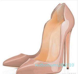 Hot Sale- Red Bottom Platform Pumps Black Patent Leather Pointy Toe High Heels Luxury Red Bottom Women Dress Shoe r10