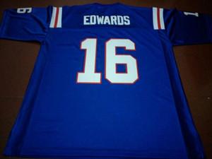 Hombres # 16 LOUISIANA TECH BULLDOGS Troy Edwards real bordado completo College Jersey Tamaño S-4XL o personalizada cualquier nombre o número jersey