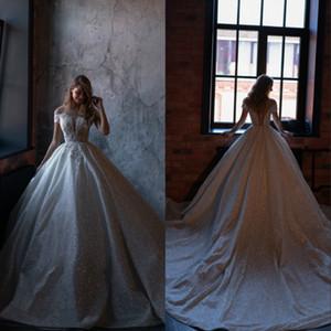 Sparkly Glitter 2020 Vestidos de novia con manga corta Falda hinchada Botón brillante Princess Garden Civil Vestidos de novia