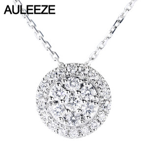 AULEEZE weißes Gold 18K Real Diamond Halskette Circle Cluster Rahmen 0.47CTTW Diamant-Anhänger Damen Claviclekette