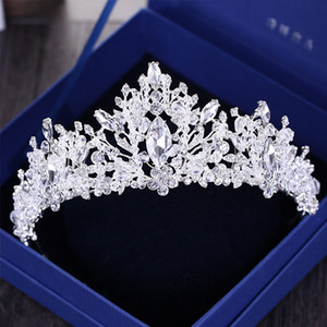Baroque De Luxe Strass Perles Coeur De Mariée Tiara Couronne Argent Cristal Diadème Voile Diadèmes De Mariage Accessoires De Cheveux Headpieces C19022201