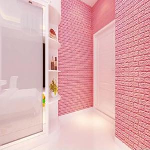 70 * 77 2PC 3D Mur de briques autocollants bricolage auto Adhensive Décor mousse imperméable Revêtement mural Papier peint fond TV Enfants Salon
