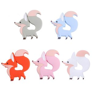 Fox silicone Teether Teething Jouets d'enfants BPA Safe silicone souple animaux Chew Perles Sucettes Soins infirmiers bébé Jouets Z0866 Teething