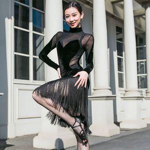 Sexy Latin Dance Women Dress Tango Salsa Cha Cha Samba Rumba Ballroom Fringe prestazioni Rave Outfit signore Practice Wear DC3270