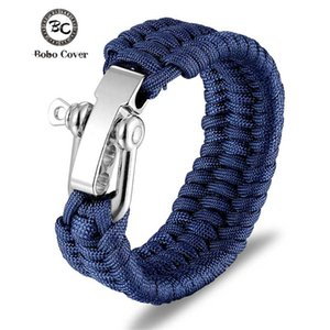 Outdoor Camping Stainless Steel Bracelet Men Paracord Parachute Rope Wristband Homme Handmade Braided Jewelry