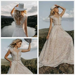 Vintage 2020 Beach Lace Boho A Line Wedding Dress Elegant Tulle Appliques Short Sleeve Bohemia Bridal Gowns Vestido De Noiva