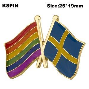 Regenbogen Schweden Freundschaft Markierungsfahnen-Revers Pin Flagge Abzeichen Revers-Stifte Abzeichen Brosche XY0578-2