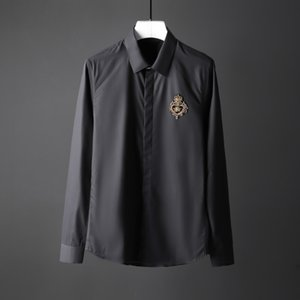 أحدث ولي النحل Camisa ذكر للضئيلة بالاضافة الى حجم 4XL غير الحديد وضع الرجال اللباس قميص الرجل المناسب يدويا قميص عارضة