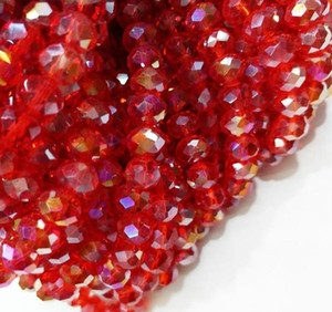 100pcs lot 4MM RED AB Faceted Crystal rondelle spacer Beads DIY Jewelry making