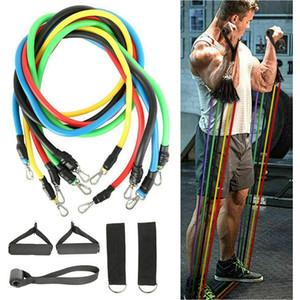 11pcs / set Tração da corda Fitness Exercícios faixas da resistência Latex Tubes Pedal Workout Excerciser Formação corpo elástico Yoga Banda Favor RRA3117