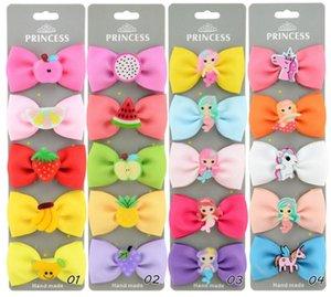 Chica Nueva Moda Coloridos Barrettes para el Cabello Niños Fruta Unicornio Accesorios para el Cabello Niños Garras para el Cabello Clips Baby Bows Gift YLC 035