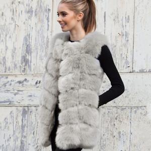 Sahte Kürk Yelek Uzun Kış Kadınlar 2018 Yeni Moda Casual Sıcak İnce Kolsuz Sahte Kürk Ceket Kadınlar casaco feminino