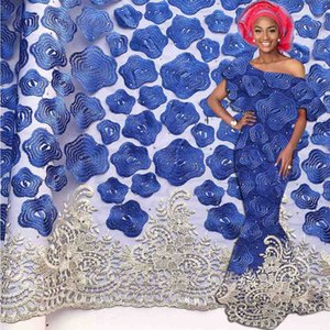 Royal Blue African Lace Fabric 2020 High Quality Lace French Mesh Fabric Beaded Stones Nigerian Swiss Lace Fabrics For Dress