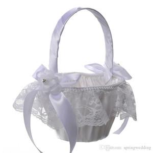 Белый / Ivory Свадебные Цветочные корзины с элегантным атласные кружева Цветочница Корзины Свадебные сувениры Украшение CPA1913