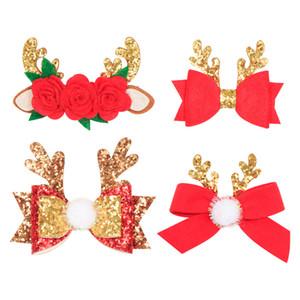Noel Sequins Tokalarım Glitter Bow Antlers Bow Tokalar Kürk Topu Çiçek Pom ilmek Saç Klipler XMAS Prenses Kız Şapkalar