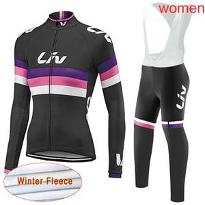 2019 liv Winter Women Super Warm Cycling Jerseys Winter Thermal Fleece Bike Sportswear long sleeves mtb Bicycle Clothing C0901