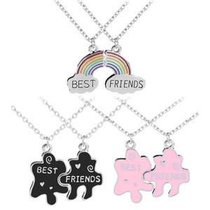 Collana di tendenza puzzle Best Friends geometrico Collana d'argento per le donne Catena Bff Amicizia monili Girocollo pendente regali