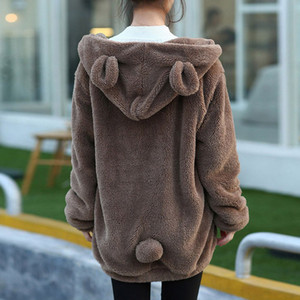 2019 Women Hoodies Zipper Girl Autumn Loose Kawaii Fluffy Bear Ear Hoodie Hooded Jacket Warm Outerwear Coat Cute Sweatshirts Y200706