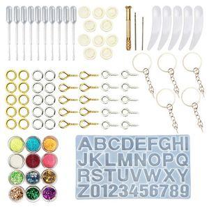 1 Set de résine époxy Kit Outils Castings bijoux bricolage main moule en silicone Cuillère résultats Alphanumeric Moule