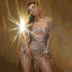 빛나는 구슬 체인 바디 수트 라인 석 섹시한 누드 퍼포먼스 무대 댄스 의상은 고급스러운 파티 생일 옷을 축하
