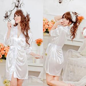 Nightgowns Sexy Mini Женщины Pijamas Sleewwurs V-образным вырезом Babydolls Летние стиль Шелковое белье кружевное платье халат Pajamas Женщины