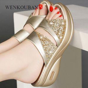 Women Slippers Summer Platform Shoes Fashion Women Wedge Open Toe Flip Flops Ladies Bling Slide Beach Shoes Pantoufle Femme Y200706