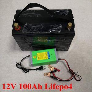 12 V 100AH Lifepo4 Bateria À Prova D 'Água com BMS para Carros de Golfe Campistas Fonte de Alimentação EV Motorhomes de Armazenamento Solar + Carregador 10A