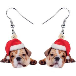 Charms acrílico Buldogue francês do Natal Pug Dog brincos Dangle Animais presente menina das mulheres adolescentes As crianças decoração Festiva