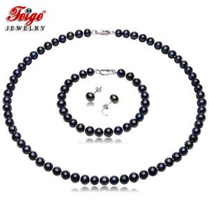 Estilo Retro FEIGE 6-7mm jogo da jóia de água doce Pérola Negra por Mulheres 925 Sterling Silver Black Pearl jóias conjunto