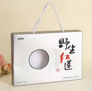 mariage impression en gros personnalisé favorise le papier d'art boîte flip cadeau couché et boîte pliable en carton gris avec ruban --- PX0195