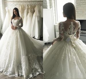 Großhandel - Billig Jewel Ballkleid Sweep Zug Spitze Applique Long Sleeves Elegante Schöne Maßgeschneiderte Brautkleid Neues Kommen