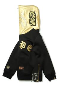 Hot Lettre hommes d'or chandail à capuchon à fermeture éclair Sweat à capuche en laine Cardigan Plus Size 2XL